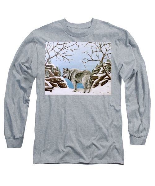 Long Sleeve T-Shirt featuring the painting Wolf In Winter by Teresa Wing