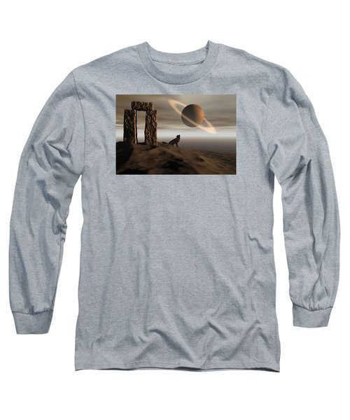 Long Sleeve T-Shirt featuring the digital art Wolf Song by Claude McCoy
