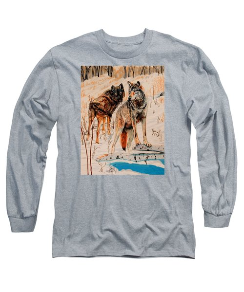 Wolves At Day Break Long Sleeve T-Shirt by Cheryl Poland