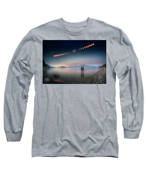 Woman And Girl Standing In Lake Watching Solar Eclipse Long Sleeve T-Shirt