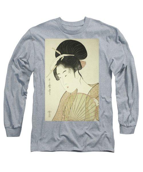 Woman Holding A Round Fan Long Sleeve T-Shirt