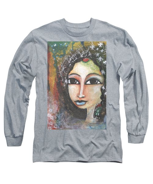 Long Sleeve T-Shirt featuring the mixed media Woman - Indian by Prerna Poojara