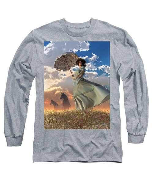 Woman With A Parasol Long Sleeve T-Shirt