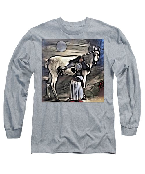 Woman With White Horse Long Sleeve T-Shirt