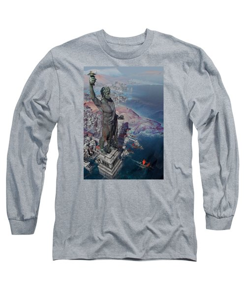 wonders the Colossus of Rhodes Long Sleeve T-Shirt by Te Hu