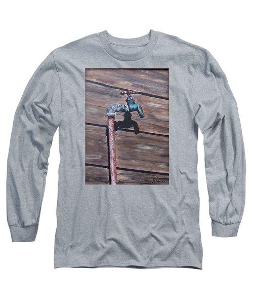 Wood And Metal Long Sleeve T-Shirt by Natalia Tejera
