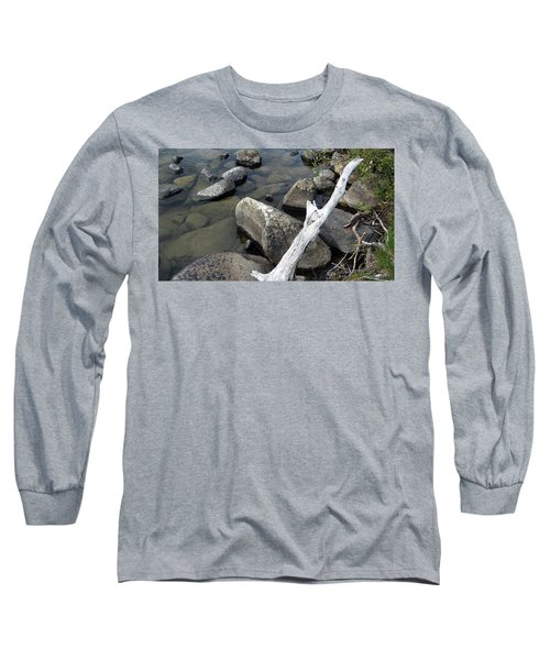 Wood And Rocks In Water Long Sleeve T-Shirt
