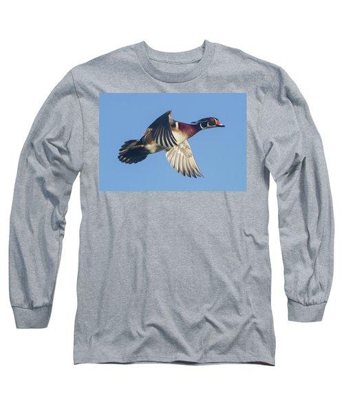 Wood Duck Flying Fast Long Sleeve T-Shirt
