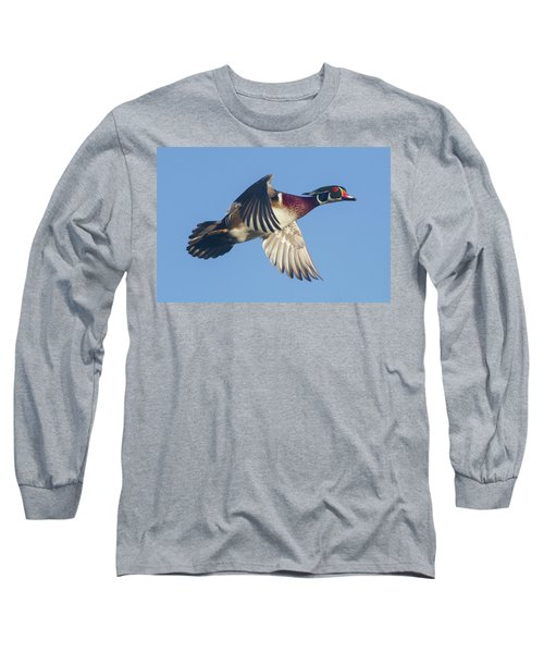 Wood Duck Flying Fast Long Sleeve T-Shirt