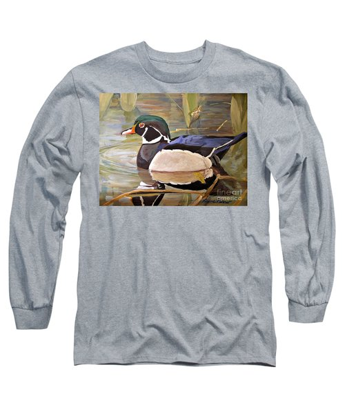Wood Duck On Pond Long Sleeve T-Shirt by Laurie Rohner