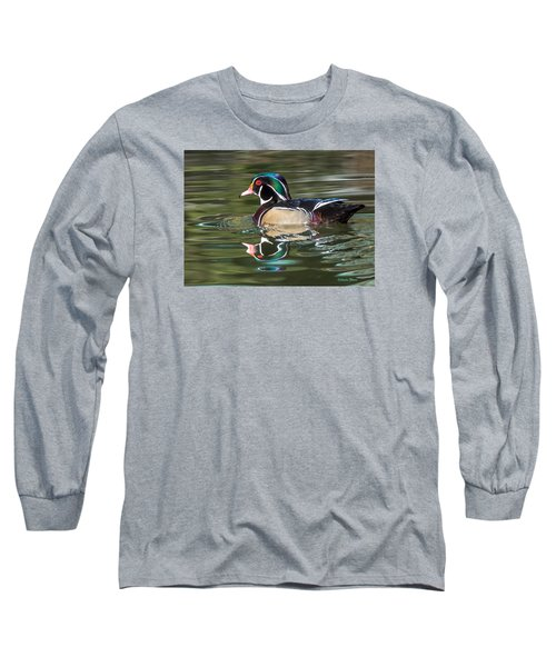 Wood Duck Reflections At Sterne Park Long Sleeve T-Shirt by Stephen  Johnson