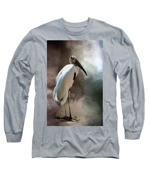 Wood Stork Long Sleeve T-Shirt by Cyndy Doty