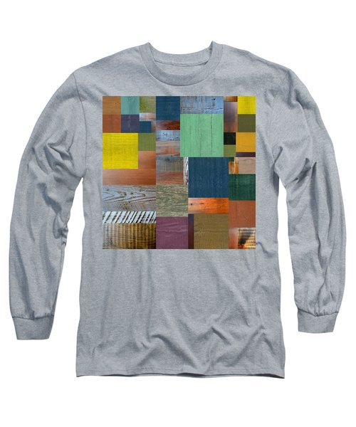 Long Sleeve T-Shirt featuring the digital art Wood With Teal And Yellow by Michelle Calkins