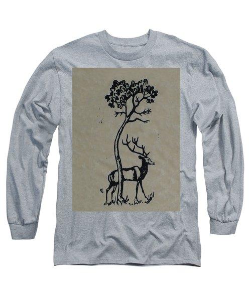 Woodcut Deer Long Sleeve T-Shirt