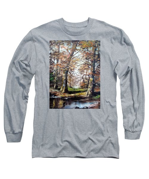 Long Sleeve T-Shirt featuring the painting Woodland Pond  by Lee Piper