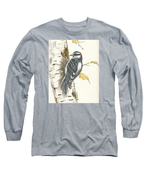 Long Sleeve T-Shirt featuring the painting Woodpecker by Darren Cannell