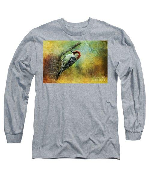 Woodpecker On Cherry Tree Long Sleeve T-Shirt