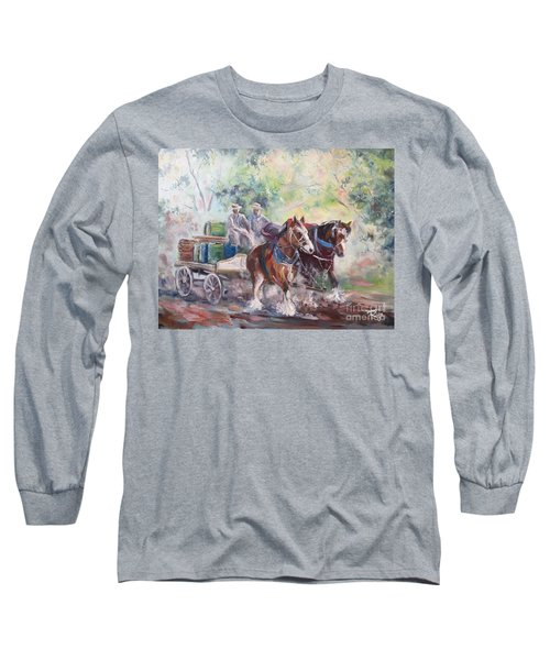 Working Clydesdale Pair, Victoria Breweries. Long Sleeve T-Shirt
