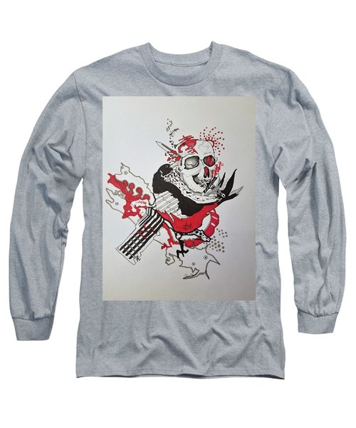 Long Sleeve T-Shirt featuring the drawing World Down-side-up by Kevin F Heuman