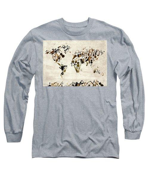 Long Sleeve T-Shirt featuring the digital art World Map Music 1 by Bekim Art