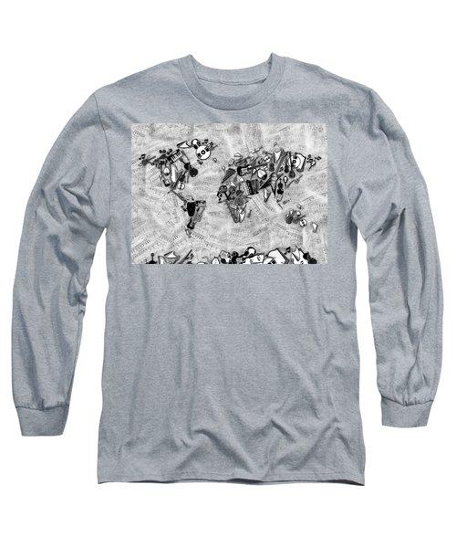 Long Sleeve T-Shirt featuring the digital art World Map Music 2 by Bekim Art