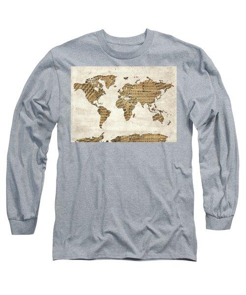 Long Sleeve T-Shirt featuring the digital art World Map Music 9 by Bekim Art