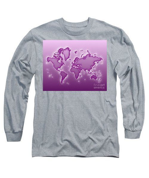 World Map Opala In Purple And White Long Sleeve T-Shirt