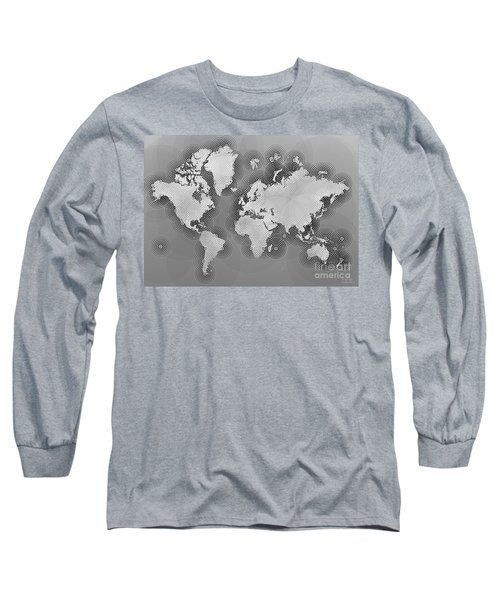 World Map Zona In Black And White Long Sleeve T-Shirt by Eleven Corners