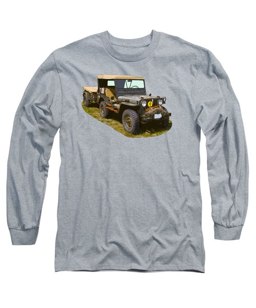 World War Two Army Jeep With Trailer  Long Sleeve T-Shirt