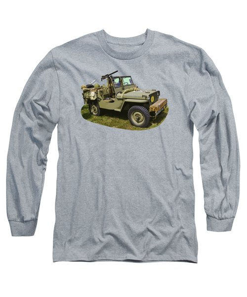 World War Two - Willys - Army Jeep  Long Sleeve T-Shirt by Keith Webber Jr