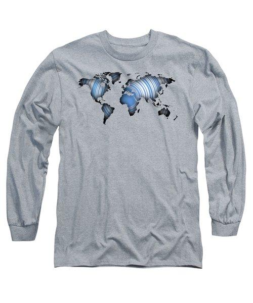 Worldmap Over Blue Circles Long Sleeve T-Shirt
