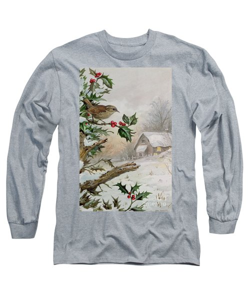 Wren In Hollybush By A Cottage Long Sleeve T-Shirt by Carl Donner