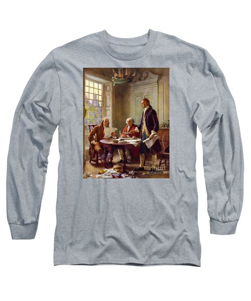 Writing The Declaration Of Independence, 1776, Long Sleeve T-Shirt by Leon Gerome Ferris
