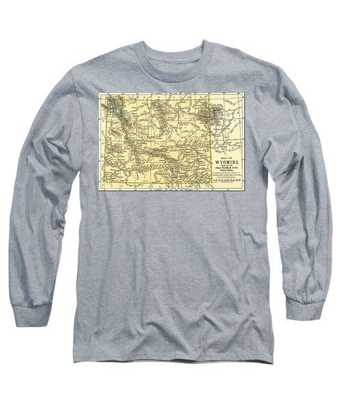 Wyoming Antique Map 1891 Long Sleeve T-Shirt