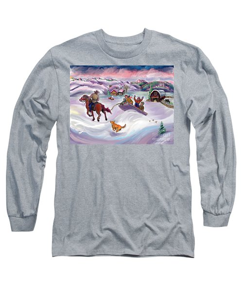 Wyoming Ranch Fun In The Snow Long Sleeve T-Shirt by Dawn Senior-Trask