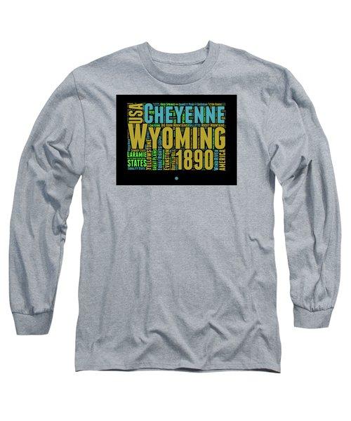 Wyoming Word Cloud Map 1 Long Sleeve T-Shirt by Naxart Studio
