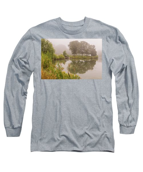 Misty Pond Bridge Reflection #5 Long Sleeve T-Shirt