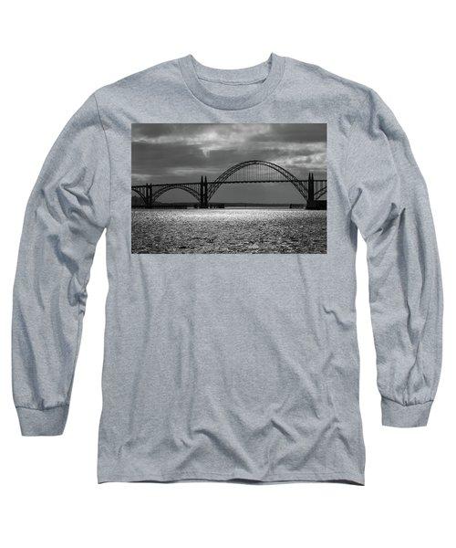 Yaquina Bay Bridge Black And White Long Sleeve T-Shirt by James Eddy