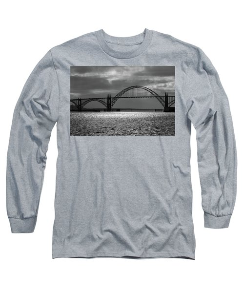Yaquina Bay Bridge Black And White Long Sleeve T-Shirt