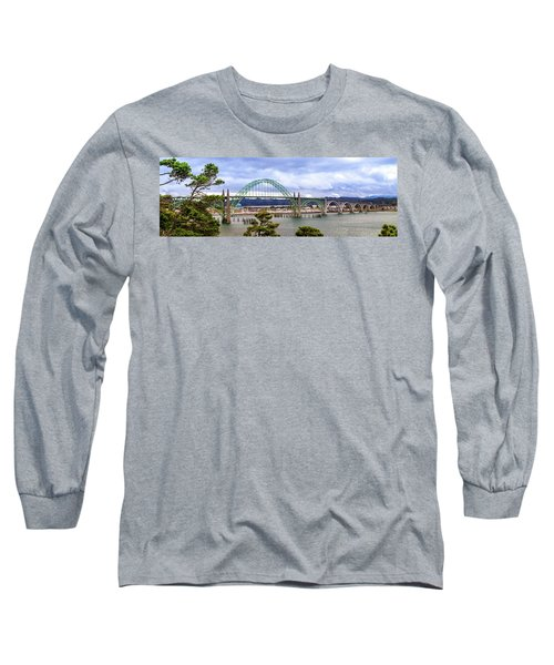 Yaquina Bay Bridge Panorama Long Sleeve T-Shirt