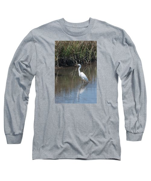 Yawkey Wildlife Refuge - Great White Egret II Long Sleeve T-Shirt by Suzanne Gaff