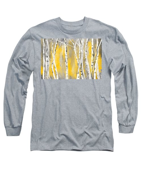 Yellow And Gray Birch Trees Long Sleeve T-Shirt