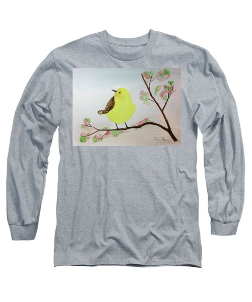 Yellow Chickadee On A Branch Long Sleeve T-Shirt