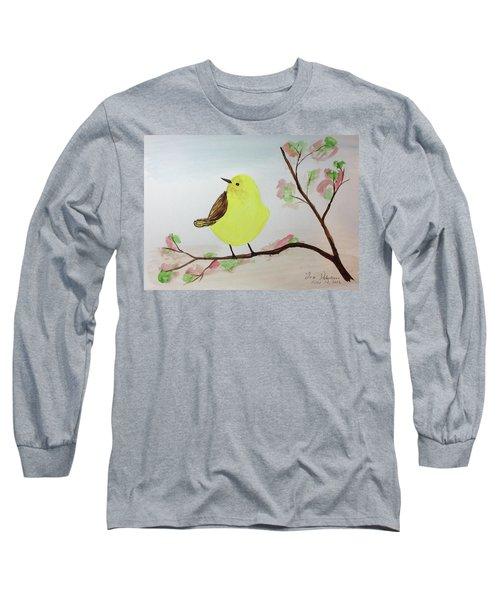 Yellow Chickadee On A Branch Long Sleeve T-Shirt
