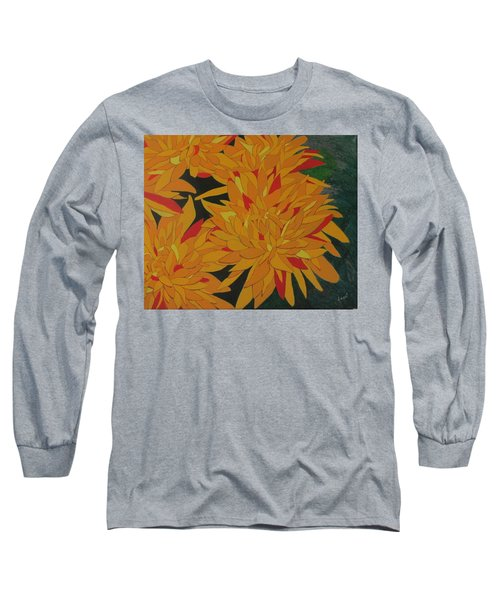 Long Sleeve T-Shirt featuring the painting Yellow Chrysanthemums by Hilda and Jose Garrancho