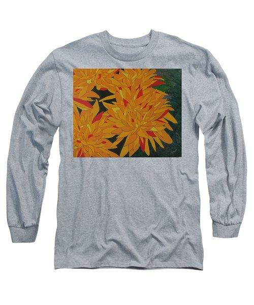 Yellow Chrysanthemums Long Sleeve T-Shirt by Hilda and Jose Garrancho