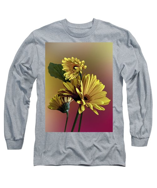 Yellow Daisy Trio Long Sleeve T-Shirt by Judy  Johnson