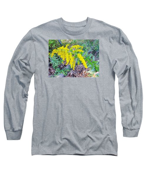 Yellow Flowers On Green Long Sleeve T-Shirt