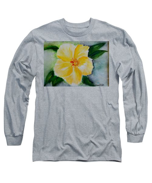 Yellow Hibiscus Long Sleeve T-Shirt by Jamie Frier