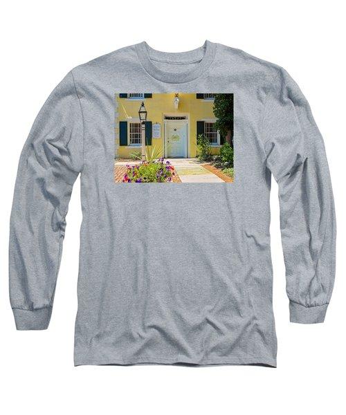 Yellow House In Kingston Long Sleeve T-Shirt by Nancy De Flon